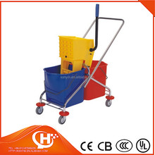2-bucket wringer trolley mop bucket with wheels