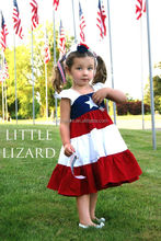 Conice nini brand selling July 4th flutter sleeve red white stripe smocked girls dress