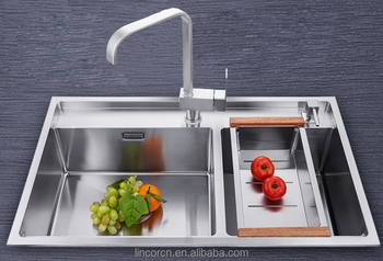 Best quality double bowl stainless steel square kitchen sink for home and hotel