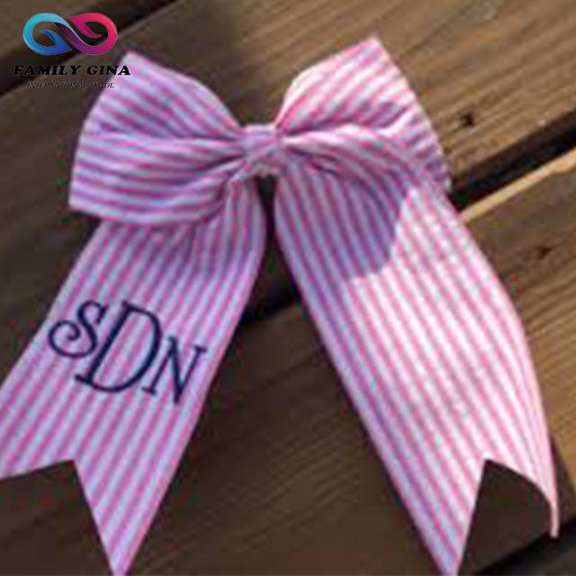 Monogram Initials Striped Seersucker Girls Hair Bow