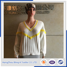 2016 fashion V-neck cable pattern designs wooll pullover sweater for women