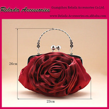 New Women Silk stain Shoulder Clutch rose flower Handbag with Chain for Evening Wedding Bags