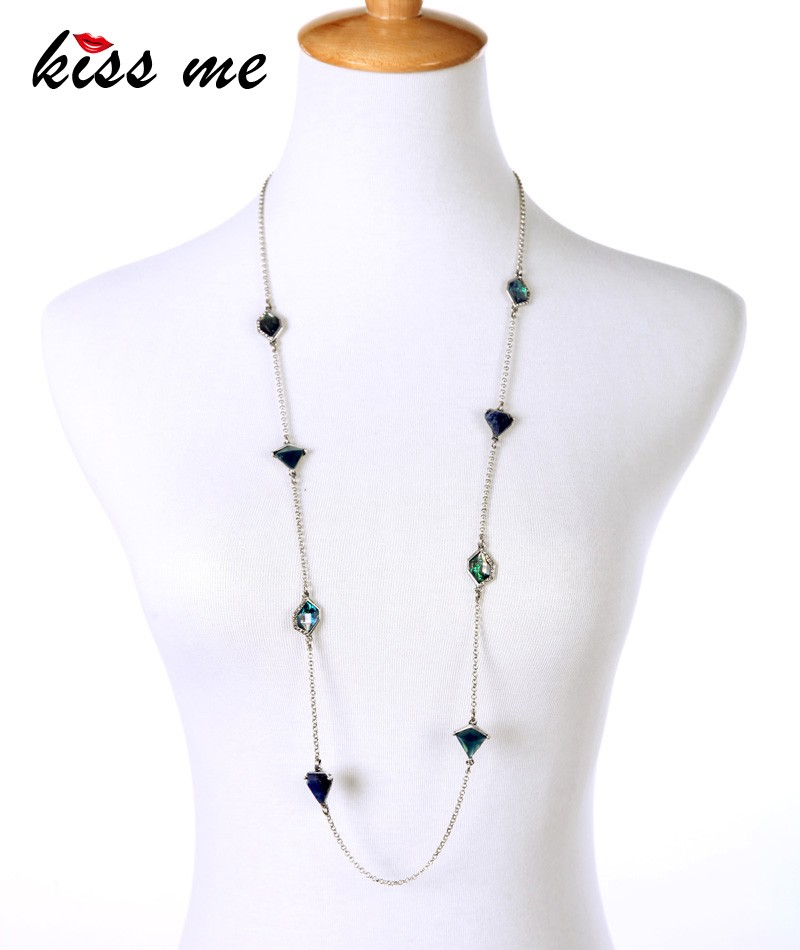 Handmade Stone Fine Epoxy Resin Shiny Silver Plated Chain Long <strong>Necklace</strong>
