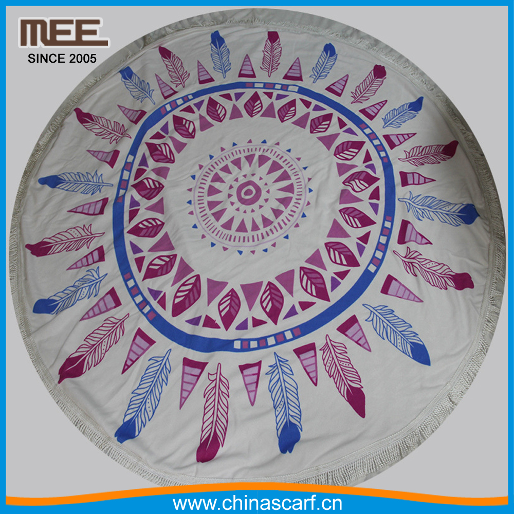large round beach blanket hot sell printed beach towel for Beach or Yoga