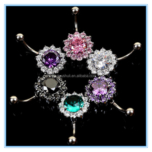 factory supply 3A zircon belly navel ring body piercing