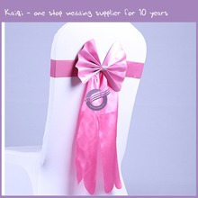 KA787 High Quality Wedding Bride and Groom Satin Chair Sashes for Sale