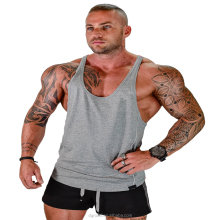 Custom 95%cotton5%spandex mens gym fitness singlet stringer tank top