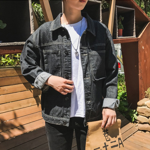 hot selling custom design long sleeve pockets embroidered fashion men jacket street style denim jacket