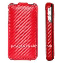 Carbon Fiber pattern Leather Case for Apple iPhone 4 4S