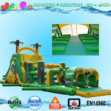14 meters long outdoor playground entertainment equipment inflatable jungle obstacle course for kids