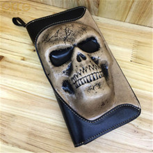 Punk Retro 3D Skull Genuine Cow Leather Men Purse Cool Wallets