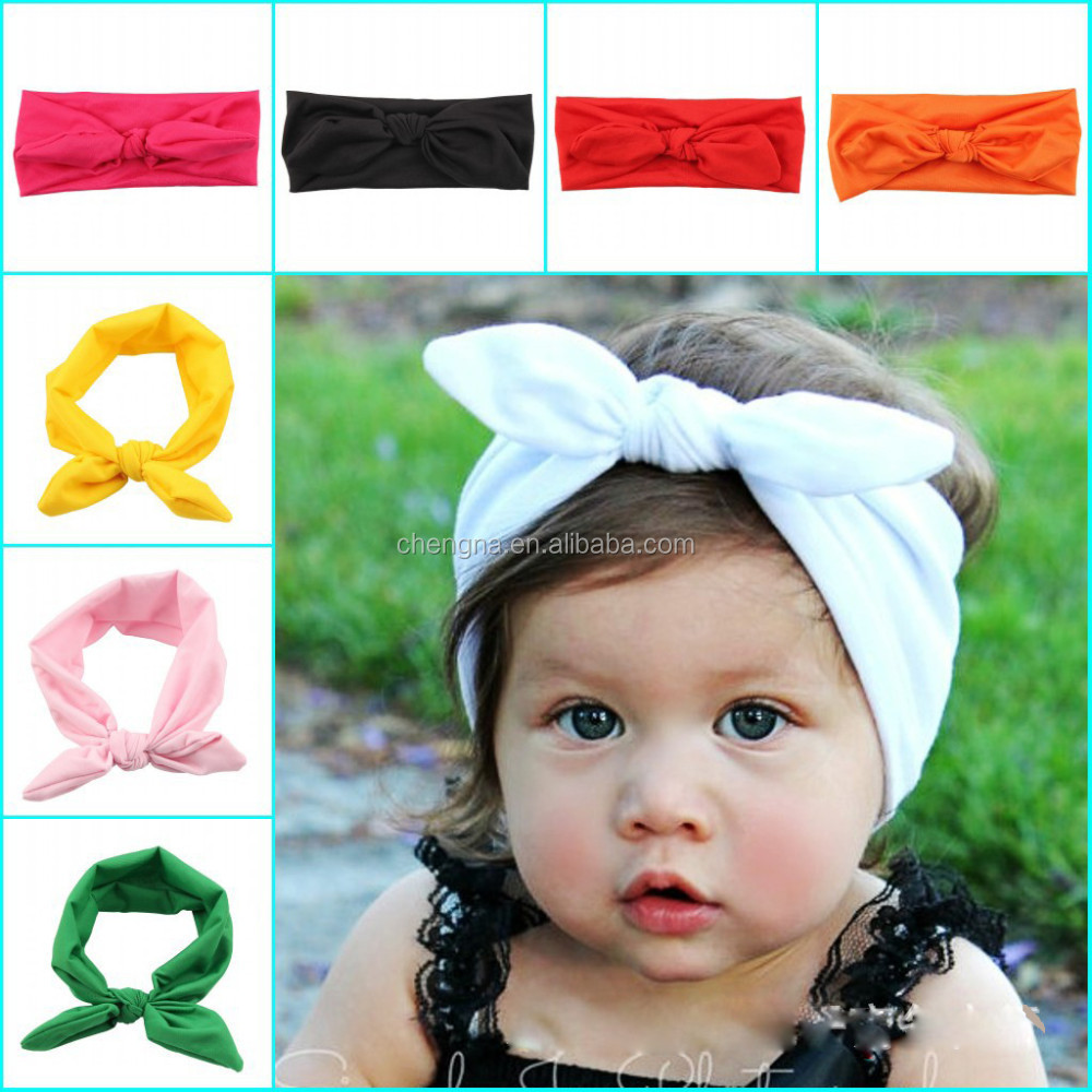 Toddler Cotton Plain Headband Knotted tie Hair bow Head Wraps for Baby