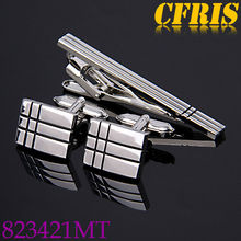 Metal shirt cufflink and tie pin sets