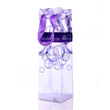 OEM design wine bottle bag factory price pp clear plastic purple wine cooler bags