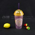Double wall plastic coffee cup with straw, Plastic Gift Advertising Cup with lid