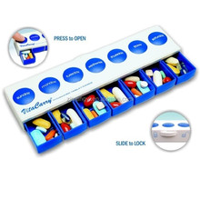 Safely pop-up 7compartment pill organizer