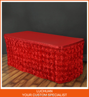 High Quality Home Textile Red Satin Rosette Materials In Table Skirting