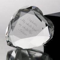 Clear Transparent Glass Crystal Heart Shape Paperweight With Custom Logo For Personalized Valentine Day's Gift