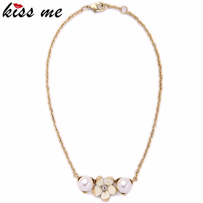 2016 Summer New Item Simulated Pearl Women Graceful Flower Pendant Necklace