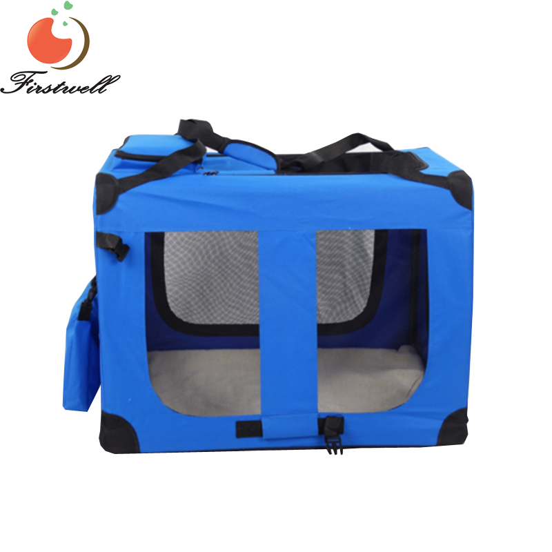 Portable Dog Crate Soft Sided Cat Transport Cage Blue Expandable Pet Carrier