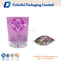 Plastic zipper pouch food packaging bag customized cookie bag with window logo print
