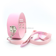 Adjustable Size PU Leather Pink Collar with Leash Black Bondage Sex Toys Bull Whip Hot Sex Women with Dog Puppy Collar