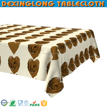 colorful flower plastic printed Valentine tablecloth with nonwoven backing