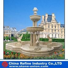 Beige garden marble fountain with birds carving