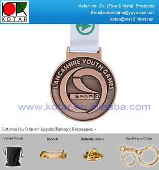 Bespoke antique copper plating round shape sport medal