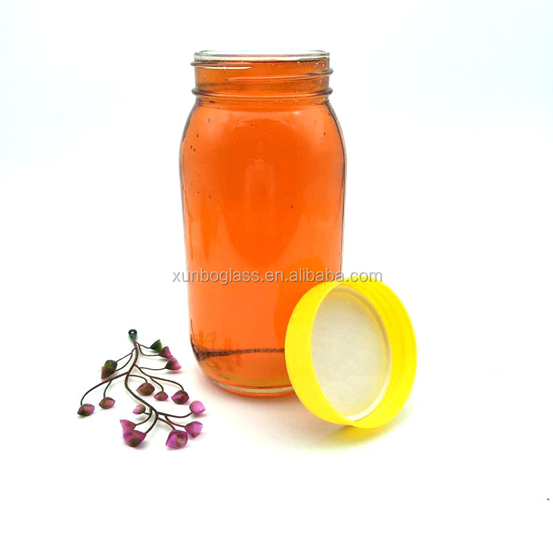 700ml round food beverage container glass honey jars with plastic cap