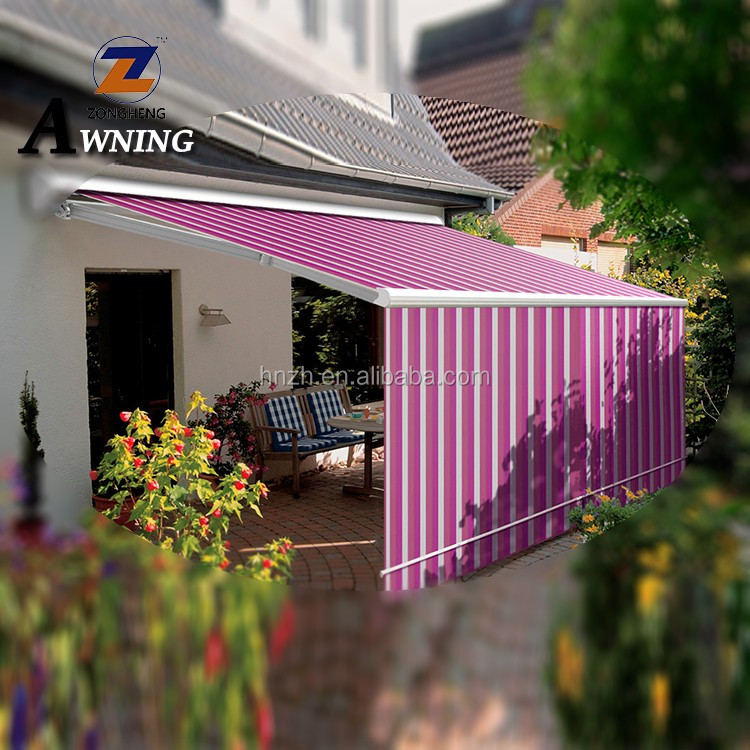 dual roller retractable garden awning blind with front screen