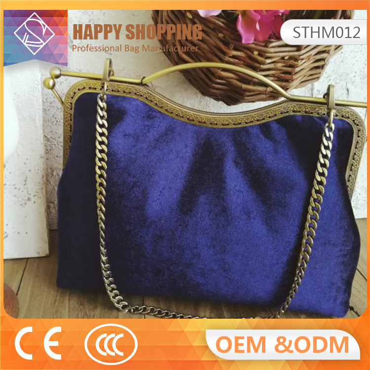 Hot new design fashion women velvet fabric bags handbag with wholesale
