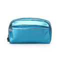 Metallic Pu Leather Makeup shinny Cosmetic Train Bag with Removable