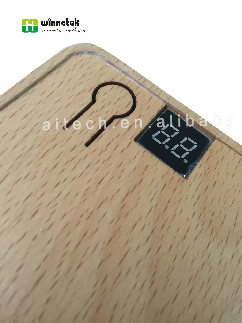 Square custom logo wooden power bank 10400mAh battery capacity with led display indicator