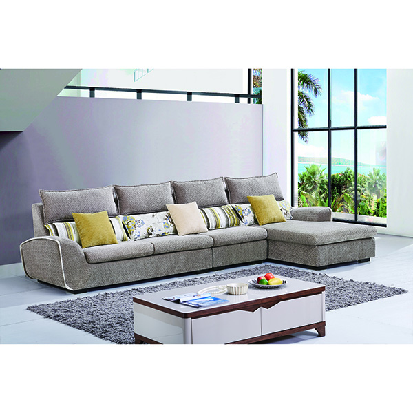 Direct Wholesale Fabrique Sofa Light Brown Good Hand Feel Linen Fabric Family Corner Sofa Set Furniture Foshan China