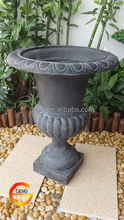 Fiberstone gray garden urn and planter