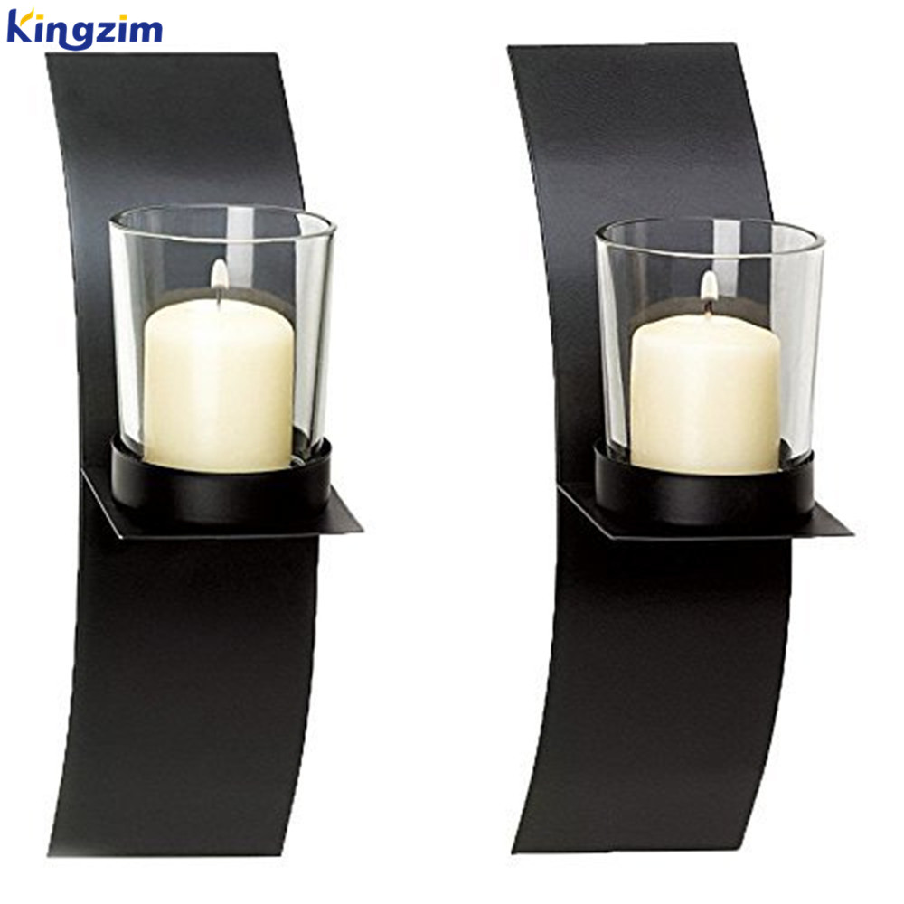 Modern Minimalist Art metal Vertical Metal Wall Hanging Sconce Candle Holder