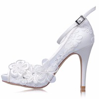 White Lace Wedding Shoes For Bridal