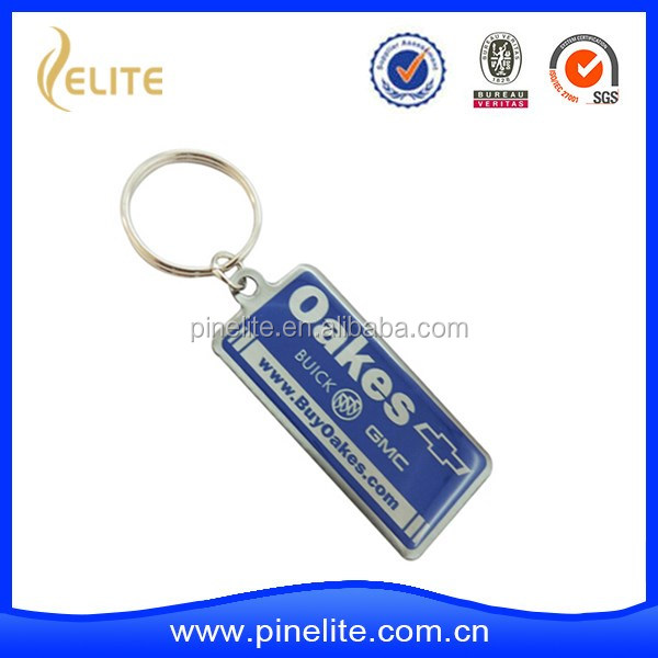 custom made car metal key chain with printed logo and epoxy dome surface