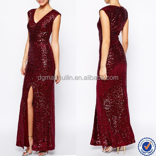 2015 Wholesale Evening Dress New Look Design Sequin Front Maxi Dress