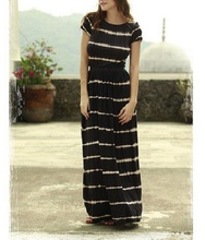 Summer Ladies Casual Maxi Long Stripe dresses For Women Frocks For Adults