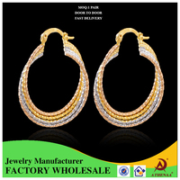 Luxury Quality Women Khazana Earring Designs Tri color Yiwu Brass Jewelry