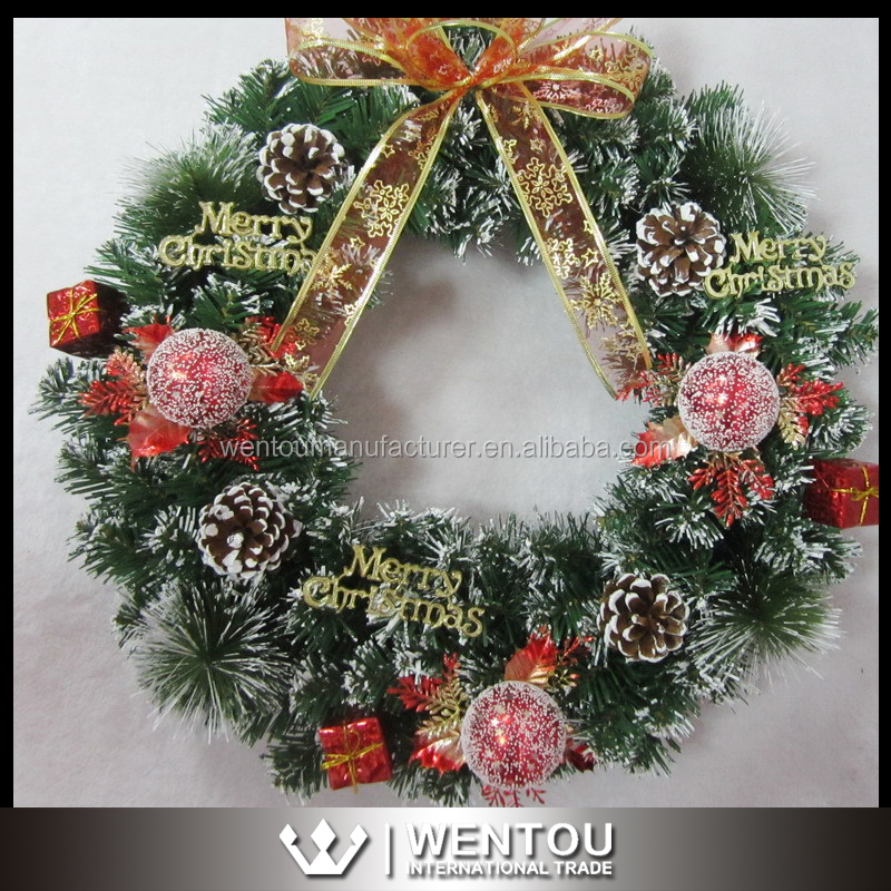 Wholesale Christmas Santa Wreath Santa Claus Wreath Holiday Handmade Wreath