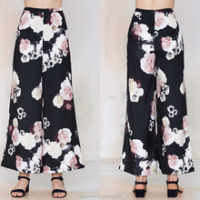 Cheap trousers women plus size Wide-Leg floral printed palazzo pants