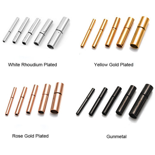 HOT 5 Sizes 4 Colors High Quality Stainless Steel Box Bayonet Clasps For Leather Cord Bracelet Necklace Jewelry Making BXGC-001