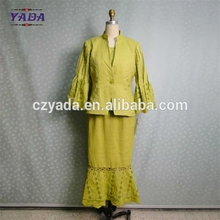 Wholesale yellow embroidery church women's working skirt suit lady formal suits office uniform designs and pictures for women