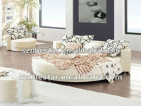 King size customized round leather bed frames