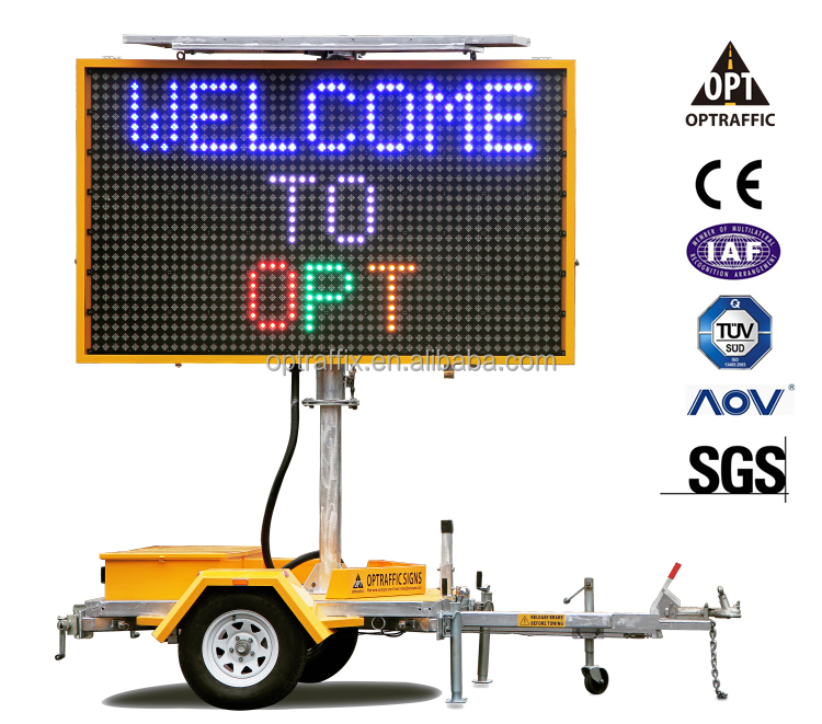 5 Color Full Matrix Solar Powered Traffic VMS Trailer, Led Moving Message Sign VMS-400-3