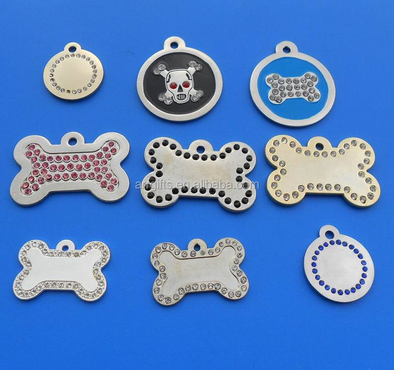 Multi bone/round shape blank crystal stone dog pet tags