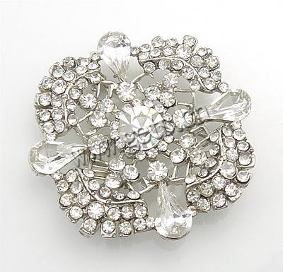 Zinc Alloy Flower Platinum Diamond Bow Brooch 463232